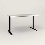 RAD Cafe Table, Rectangular X Base T Leg in acrylic and black powder coat.