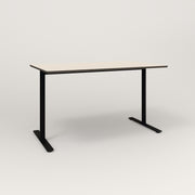 RAD Cafe Table, Rectangular X Base T Leg in hpl and black powder coat.
