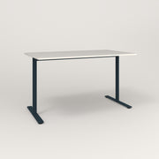 RAD Cafe Table, Rectangular X Base T Leg in acrylic and navy powder coat.