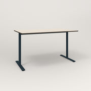RAD Cafe Table, Rectangular X Base T Leg in hpl and navy powder coat.