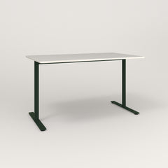 RAD Cafe Table, Rectangular X Base T Leg in acrylic and fir green powder coat.