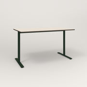 RAD Cafe Table, Rectangular X Base T Leg in hpl and fir green powder coat.
