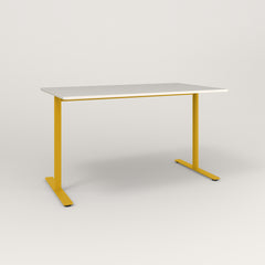 RAD Cafe Table, Rectangular X Base T Leg in acrylic and yellow powder coat.