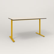RAD Cafe Table, Rectangular X Base T Leg in hpl and yellow powder coat.