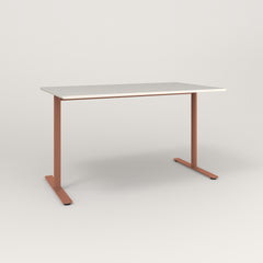 RAD Cafe Table, Rectangular X Base T Leg in acrylic and coral powder coat.