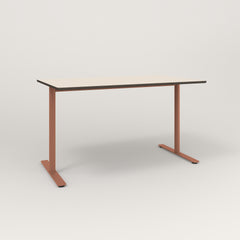 RAD Cafe Table, Rectangular X Base T Leg in hpl and coral powder coat.