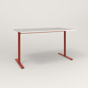 RAD Cafe Table, Rectangular X Base T Leg in acrylic and red powder coat.