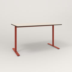 RAD Cafe Table, Rectangular X Base T Leg in hpl and red powder coat.
