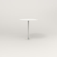 RAD Cafe Table, Round Bolt Down Base in aluminum and white powder coat.