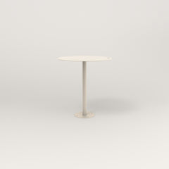RAD Cafe Table, Round Bolt Down Base in aluminum and off-white powder coat.