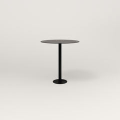 RAD Cafe Table, Round Bolt Down Base in aluminum and black powder coat.