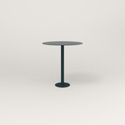 RAD Cafe Table, Round Bolt Down Base in aluminum and navy powder coat.