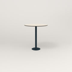 RAD Cafe Table, Round Bolt Down Base in hpl and navy powder coat.