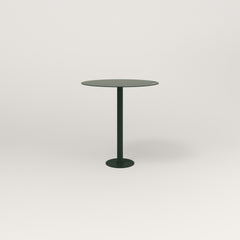 RAD Cafe Table, Round Bolt Down Base in aluminum and fir green powder coat.