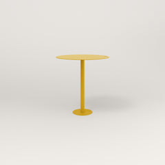 RAD Cafe Table, Round Bolt Down Base in aluminum and yellow powder coat.
