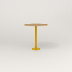 RAD Cafe Table, Round Bolt Down Base in white oak europly and yellow powder coat.