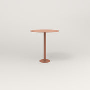 RAD Cafe Table, Round Bolt Down Base in aluminum and coral powder coat.