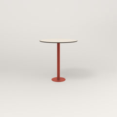 RAD Cafe Table, Round Bolt Down Base in hpl and red powder coat.