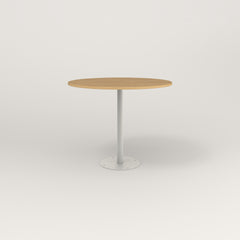 RAD Cafe Table, Round Bolt Down Base in white oak europly and white powder coat.