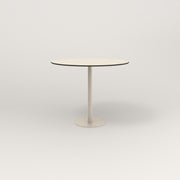 RAD Cafe Table, Round Bolt Down Base in hpl and off-white powder coat.