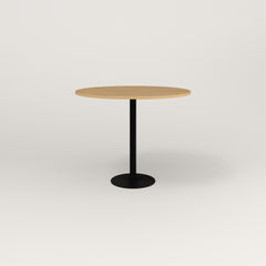 RAD Cafe Table, Round Bolt Down Base in white oak europly and black powder coat.
