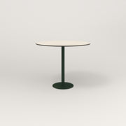 RAD Cafe Table, Round Bolt Down Base in hpl and fir green powder coat.