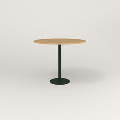 RAD Cafe Table, Round Bolt Down Base in white oak europly and fir green powder coat.