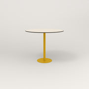RAD Cafe Table, Round Bolt Down Base in hpl and yellow powder coat.