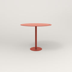 RAD Cafe Table, Round Bolt Down Base in aluminum and red powder coat.