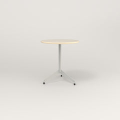 RAD Cafe Table, Round Flat Tripod Base in solid ash and white powder coat.