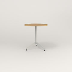 RAD Cafe Table, Round Flat Tripod Base in white oak europly and white powder coat.
