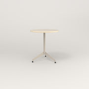 RAD Cafe Table, Round Flat Tripod Base in solid ash and off-white powder coat.