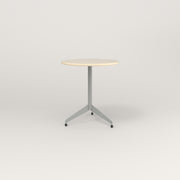 RAD Cafe Table, Round Flat Tripod Base in solid ash and grey powder coat.