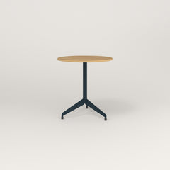 RAD Cafe Table, Round Flat Tripod Base in white oak europly and navy powder coat.