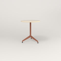 RAD Cafe Table, Round Flat Tripod Base in solid ash and coral powder coat.