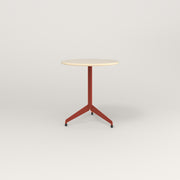 RAD Cafe Table, Round Flat Tripod Base in solid ash and red powder coat.