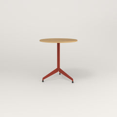 RAD Cafe Table, Round Flat Tripod Base in white oak europly and red powder coat.