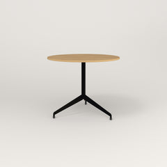 RAD Cafe Table, Round Flat Tripod Base in white oak europly and black powder coat.