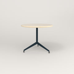 RAD Cafe Table, Round Flat Tripod Base in solid ash and navy powder coat.