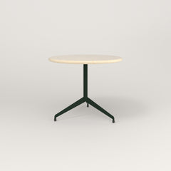 RAD Cafe Table, Round Flat Tripod Base in solid ash and fir green powder coat.