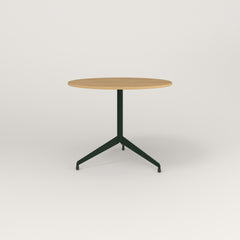 RAD Cafe Table, Round Flat Tripod Base in white oak europly and fir green powder coat.