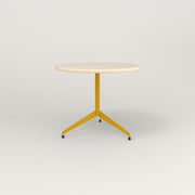 RAD Cafe Table, Round Flat Tripod Base in solid ash and yellow powder coat.