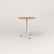 RAD Cafe Table, Round Tube Tripod Base in solid white oak and white powder coat.