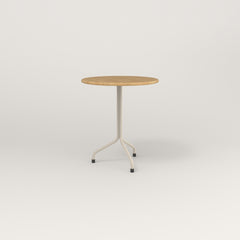 RAD Cafe Table, Round Tube Tripod Base in solid white oak and off-white powder coat.