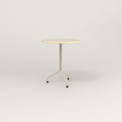 RAD Cafe Table, Round Tube Tripod Base in solid ash and off-white powder coat.