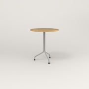 RAD Cafe Table, Round Tube Tripod Base in solid white oak and grey powder coat.