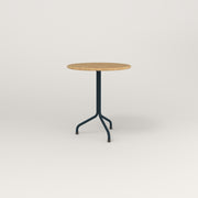 RAD Cafe Table, Round Tube Tripod Base in solid white oak and navy powder coat.
