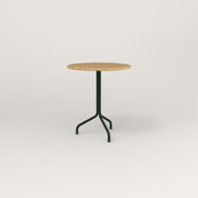 RAD Cafe Table, Round Tube Tripod Base in solid white oak and fir green powder coat.