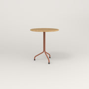 RAD Cafe Table, Round Tube Tripod Base in solid white oak and coral powder coat.