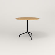 RAD Cafe Table, Round Tube Tripod Base in solid white oak and black powder coat.